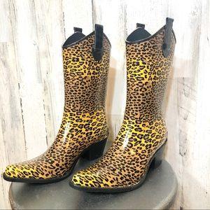 Corkys Leopard Rain boots size 10 NWOB